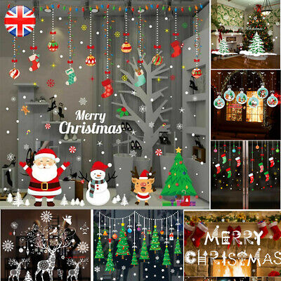 Santa Reusable Christmas Window Snowflakes Stickers Clings Decal Decorations UK • 4.99£