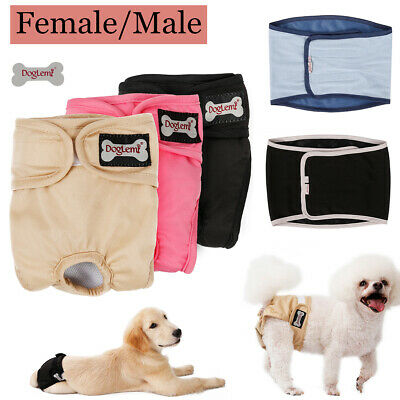 Female/Male Dog Diapers Reusable Leakproof For Pet Washable Puppy Sanitary Pants • 8.39£