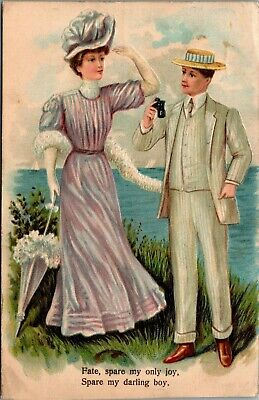 Lovely Lady~Elegant Couple Looks Out To Sea~Gent W/ Binoculars~Spare Boy~Emb~ASB • 6.74£