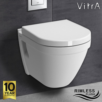 £204.95 • Buy VITRA White Compact RIMLESS FLUSH Wall Hung Toilet WC Pan & Soft Close Seat S50