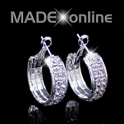 Round Chunky Silver Plated Bling Hoop Earrings • 3.99£