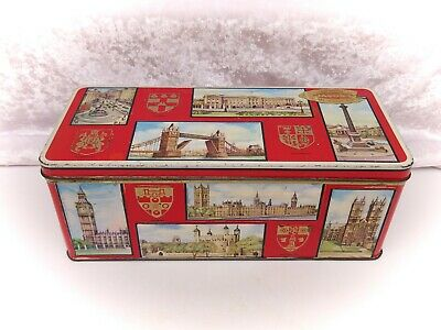 Vintage Biscuit Tin/Advertising-Jacobs (Crackers)-Red With London Scenes • 14.99£