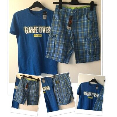 £8.95 • Buy New Tags Boys Checked Summer Shorts & New Tags Prk Gaming Top 9-10 Years
