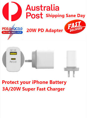 AU16.98 • Buy AU Plug PD 20W USB-C Type C Fast Wall Charger Adapter For IPhone 12 11 Pro Max X