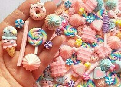 5/10/20/50pc Kawaii Pastel Ice Cream Candy Cabochons DECODEN Craft Supplies • 3.79£