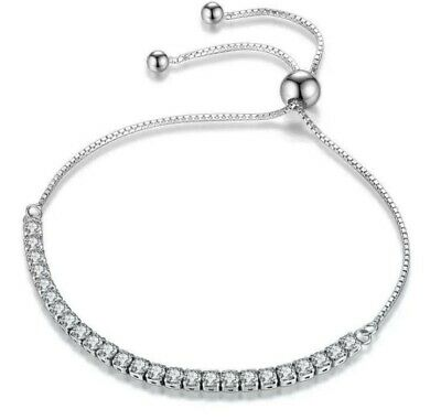 Sterling Silver Bracelet, Adjustable Tennis Style Cubic Zirconia Stones Gift Box • 9.95£