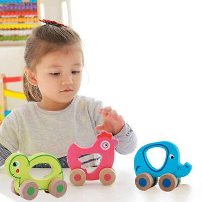 Baby Girl Boy Kids Push Along Wooden Toy Gift Little Animals Friends Baby Gift • 6.99£
