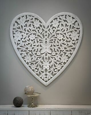 £82.95 • Buy Gorgeous Very Large White Carved Filigree Heart Wall Panel