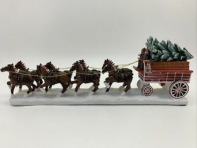 $ CDN117.29 • Buy Budweiser Beer Clydesdales Delivery Wagon W/ Christmas Tree  Bradford Ex