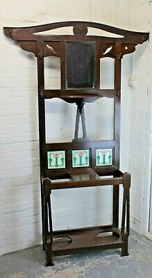Antique 1920's Art Nouveau Oak Hall Stand Coat Stand Hat Umbrella Stand • 149.99£
