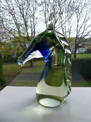 Vintage Murano Sommerso Art Glass Horse Head Sculpture • 35£