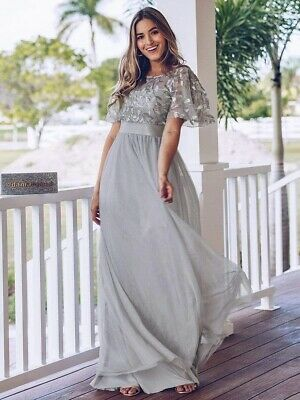Rrp £59.99 Ever Pretty A-line Grey Embroidery Long Occasion Dress Uk 10 Bnwt • 24.99£
