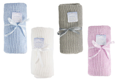 £9.99 • Buy Large Extra Soft 100% Cotton Baby Cellular Blanket Cot Moses Crib - Gift Ideas
