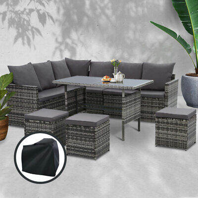 AU946 • Buy Gardeon Outdoor Dining Setting Sofa Set Wicker 9 Seater Storage Cover Mixed Grey