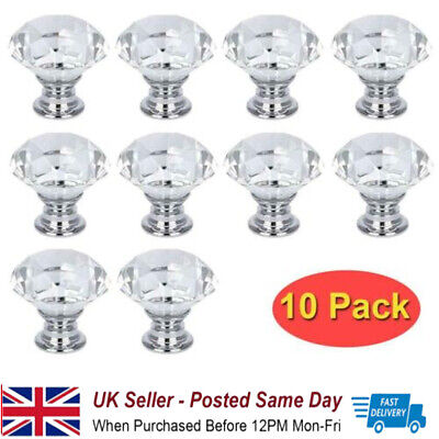 10Pcs Crystal Glass Door Knobs Diamond Drawer Knobs Cabinet Draw Pull Handle • 8.99£