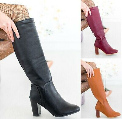 Ladies Croc Boots Womens High Block Chunky Heel Boot Zip Mid Calf Shoes Size 3-8 • 12.99£