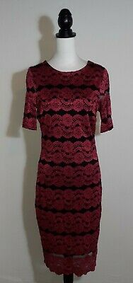 £13.99 • Buy ❤Star By Julien MacDonald 14 Pink Black Lace Floral Stretch Wiggle Pencil Dress❤