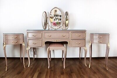 Stunning French Louis Style Dressing Table And Bedside Cabinets Bedroom Set • 750£