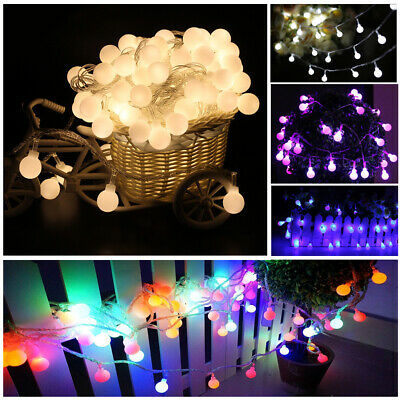 LED Globe Bulb Ball Fairy String Lights Mains Plug In Garden In/Outdoor Xmas NEW • 19.14£