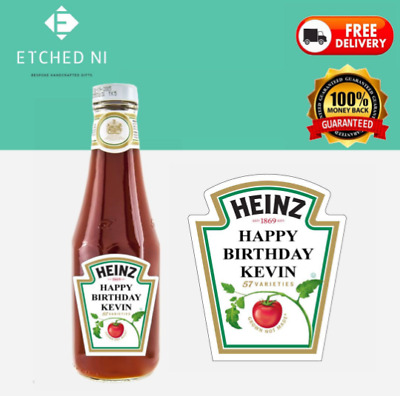 Heinz Red Sauce 343g 300ml Tomato Ketchup Sauce Personalised Label • 3.80£