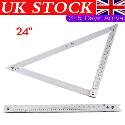 Large Steel 24  Builders Folding Angle Floor Set  Ruler Layout Tool Woodwork Set • 9.99£