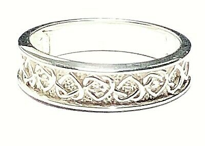 Ladies Silver Tone Stone Set Entwined Heart Ring Size R • 5.99£