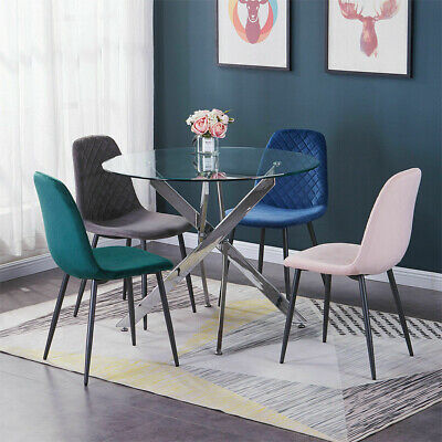 AU120 • Buy 2/4/6x Dining Chairs Velvet Padded Seat Metal Legs Dining Room Kitchen Cafe Home