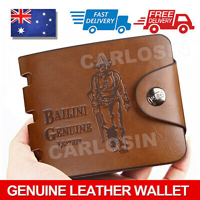 AU10.85 • Buy OZ Genuine Leather Cowhide Mens Wallet Brown Business Credit Card Holder Stylish