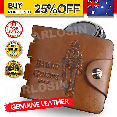AU9.95 • Buy Genuine Leather Cowhide Mens Wallet Brown Business Credit Card Holder Stylish AU