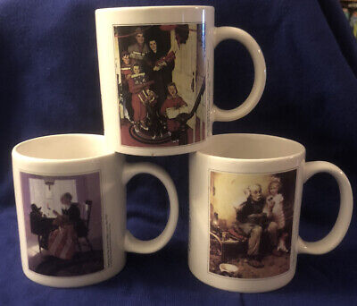 """$ CDN11.54 • Buy Set Of 3 Norman Rockwell Mugs/cups  """"The Norman Rockwell Estate Lic. Co""""*"""