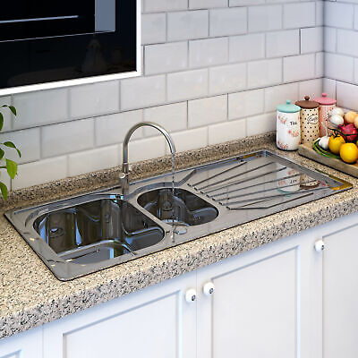 Modern Stainless Steel 1.5 Bowl Reversible Double Drainer Kitchen Sink Waste Kit • 76.99£