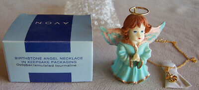 2002 Avon  BIRTHSTONE ANGEL - OCTOBER  Simulated Tourmaline 18  Necklace - NEW! • 16.36£