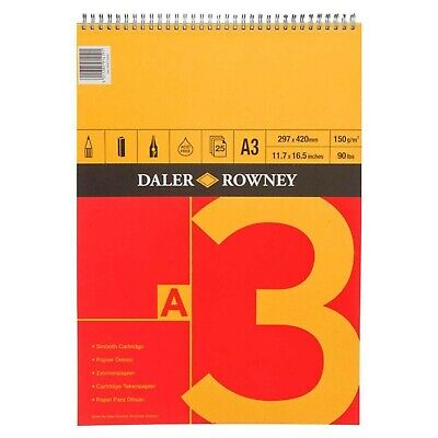 Daler Rowney A3 Series A Spiral Cartridge Sketch Book Pad 25 Sheets 150 GSM • 9.99£