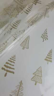 Christmas Trees Gold Cellophane 1M-5M 80cm Wide Florist Wrap Xmas Gift  • 4.99£