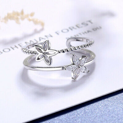 £3.29 • Buy Beautiful Crystal Flower Adjustable Ring 925 Sterling Silver Womens Girls Gift