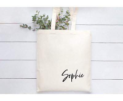 £7.99 • Buy Personalised Beige Natural Tote Bag Modern Font Bridesmaid Friend Shopping Book