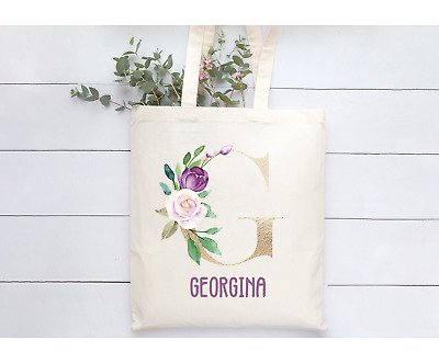 £7.99 • Buy Personalised Beige Natural Tote Bag Gold Purple Floral Letter Bridesmaid Friend