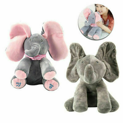 Baby Peek-a-boo Music Elephant Baby Plush Toy Stuffed Doll Animated Singing Gift • 10.99£