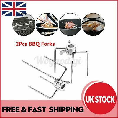 £8.91 • Buy 2Pcs Stainless Steel BBQ Forks Rotisserie Grill Spit Rotisserie Barbecue Skewer