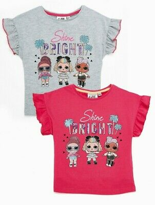 £7.99 • Buy BNWT 2 PACK GIRLS LOL SURPRISE TSHIRTS TOP AGED 3 PINK GREY Sequins