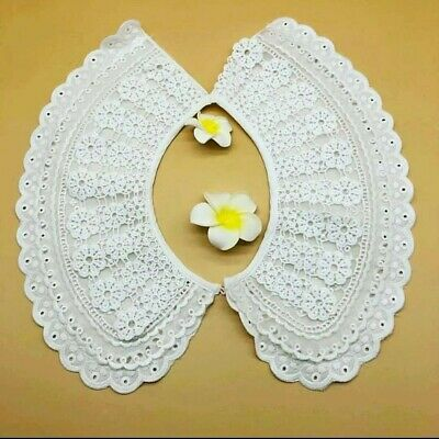 Large Style Large Lace Collar Sewn On Dressmaking, Polyester Cotton. Ivory L8 • 6.95£