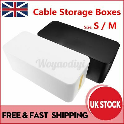 S/M Plug Cable Storage Box Case Socket Wire Management Safety Tidy Container UK • 8.45£