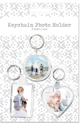 3 X Keychains Photo Picture Holder Plastic Keyrings Gift Present Heart Circle • 2.49£