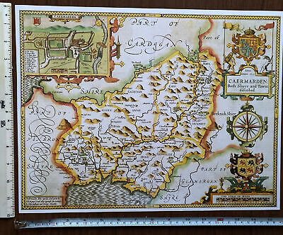 £9.99 • Buy Old Tudor Poster Map Carmarthenshire, Wales 1600s 15  X 12 Reprint Antique Speed