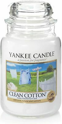 Yankee Candle Large Jar Scented Candle Clean Cotton 623g 150hrs Burn Time - New • 19.74£