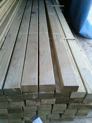 NEW C24 CONSTRUCTION GRADE PREMIUM(75 X 50) 3  X 2  X 4.8m TIMBER.TREATED GREEN • 13.50£