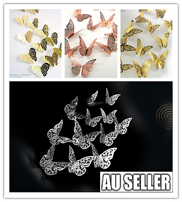 AU4.99 • Buy 12PK 3D Butterfly Wall Decals Stickers Removable Kids Nursery GOLD Decoration