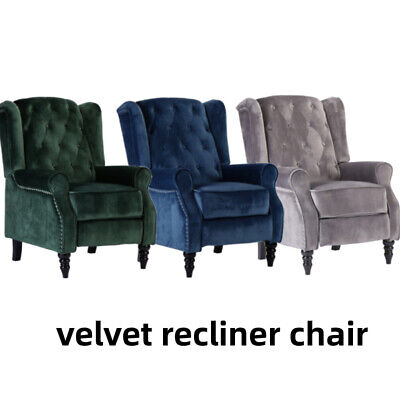 £224.99 • Buy Wing Back Velvet Recliner Chair Button Tufted Occasional Armchair Fireside Home