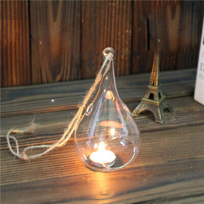 £11.94 • Buy 6-36x Glass Tea Light Holder Waterdrop Shape Hanging Tealight Candle Stand