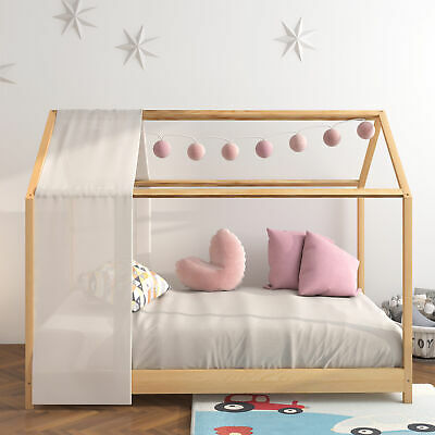 Kids Cabin Single Bed House Frame In Wood Junior Cute Bed Fit Mattress 160*80cm • 109.99£